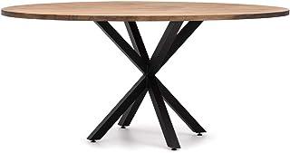 Furniture Table de salle à manger ovale avec pied étoile 160 x 80 cm Noir Bois finition vintage Style industriel