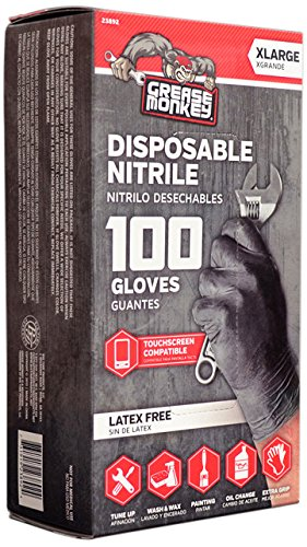Grease Monkey Disposable Nitrile All Purpose Gloves, Pack of 100, X-Large