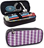 KLKLK Estuche Plaid smiggle Pencil case Plaid Pattern with Hearts Ying Yang and Sign of Peace Pax Cultura Theme Smooth Surface Magenta Lavender White