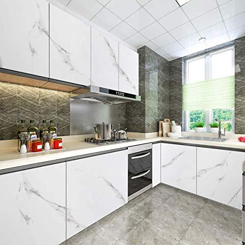 KINLO Marmor Tapete Folie Selbstklebend Möbelfolie 61 x 500 cm klebefolie PVC Wasserdicht Marmorfolie Selbstklebefolie für Wände Türen Möbel Küchenschrank