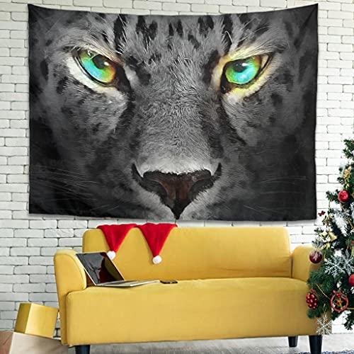 Hermoso tapiz de pared de leopardo para colgar en la pared, para el hogar, sala de estar, dormitorio, blanco 40 x 59 pulgadas