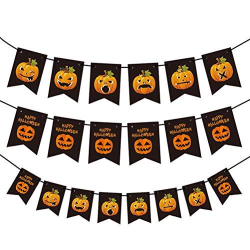 SUPVOX 3 sets 150cm banner de halloween mini banner de fieltro calabaza colgando bunting horror puerta decorativa colgando guirnalda bunting flag