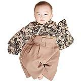 Sweet Mommy 袴 ロンパース ベビー 着物 カバーオール 日本製和柄ちりめん ブラック 80