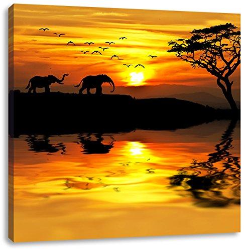 Pixxprint Elefanten in Afrikanischer Steppe, Format: 70x70 auf Leinwand