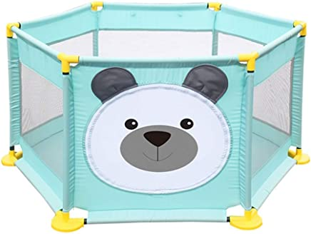 WJSW 128cm Baby Cartoon Playpen Toddler Play Fence 65cm Safety Height Anti-fall Kid s Safety Activity Center Indoor Outdoor