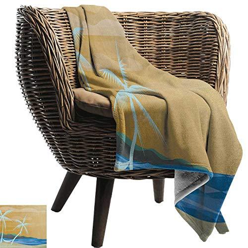 ZSUO Aangepaste deken Strand, Hangmat op het Zandstrand tussen Palm Coconut Uitzicht op Zee Natuur Art Cream Navy Groen Gezellige en Duurzame Fabric-Machine Wasbaar