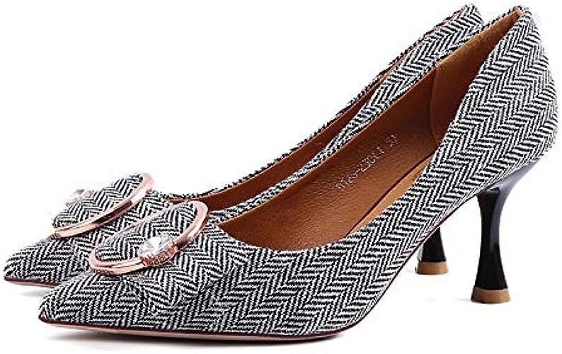 FLYRCX Chaussures Pointues à la Mode en métal avec des Chaussures Sexy à Talon Aiguille Sexy Talon Aiguille Chaussures de Travail
