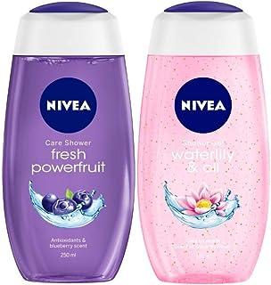 NIVEA Shower Gel, Power Fruit Fresh Body Wash, 250ml And NIVEA Shower Gel, Water Lily & Oil Body Wash, Women, 250ml