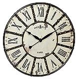 TFA Dostmann Vintage XXL Wanduhr, 60.3039.02, aus Metall, analog, schwarz / weiß