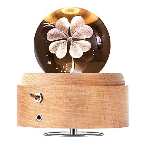 DUTISON carillon con sfera di cristallo, carillon in legno rotante a 360 ° con luce, regalo per Natale, compleanno, San Valentino - quadrifoglio