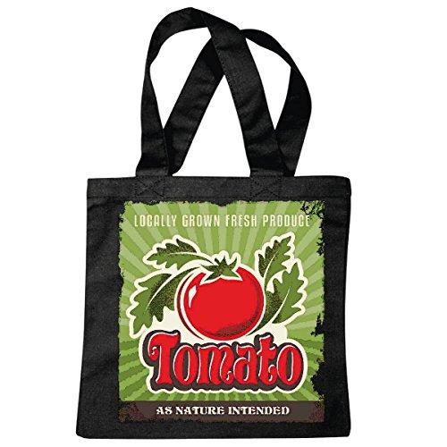 Tasche Umhängetasche Tomate Tomato Obst GEMÜSE TOMATENSALAT DIÄT ABNEHMEN Kalorien Figur Fitness BMI FETTGEWEBE DICK DÜNN Figur BETONT Bauchumfang Einkaufstasche Schulbeutel Turnbeutel in Schwarz