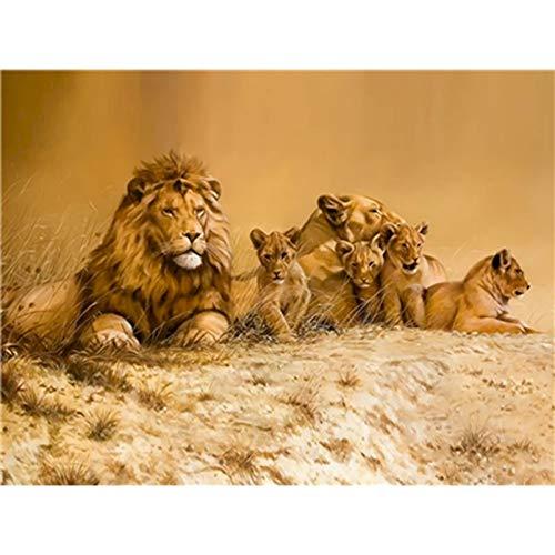 Pintura por números para adultos, animales, pintura acrílica, imagen por números, decoración artística de pared de León, regalo pintado a mano A18 40x50cm