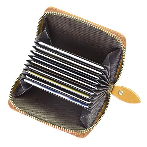 TEEMZONE RFID Cartera Tarjetero Mujer Cremallera de Cuero Genuino Portatarjetas Monedero de Espacio 11 Tarjetas