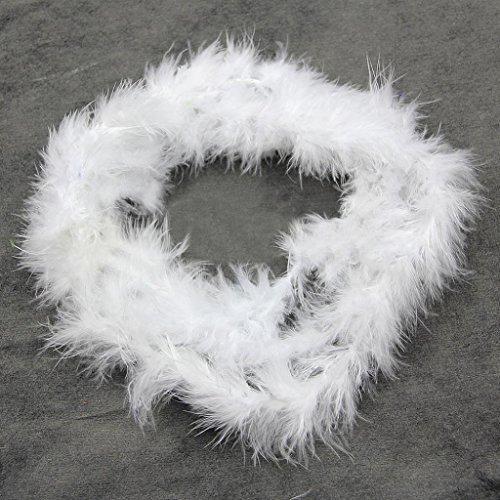 Ukallaite 2 m Federboa-Streifen, flauschig, für Kostüme, Junggesellinnenabschiede, Dressup, Hochzeit, Party, Weiß