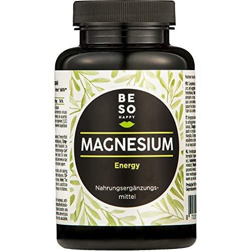 BeSoHappy® Elementarem Magnesium Energy | Hochdosiert mit 400mg | 180 Kapseln, Versorgung für 6 Monate | Vegan & Glutenfrei | Laborgeprüft Nahrungsergänzungsmittel, in Deutschland Produziert