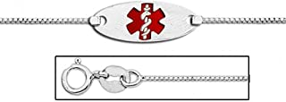 14K White Gold Medical ID Anklet with Enamel - 10 Inch