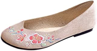 Aiweijia Ladies Slip On Bottom Floral Pattern Buckle Low Top Embroidered Shoes