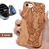 iProductsUS Elephant Phone Case Compatible with iPhone 8 PLUS, 7 PLUS, 6Plus, 6sPlus and Magnetic Mount-Wood Cases Engraved Unique Elephant Built in Metal Plate,TPU Protective Shockproof Covers (5.5')