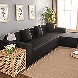 Poliestere 3 + 2 posti Copridivano, Copridivano angolare Fodera per divano a forma di L(nero)