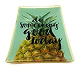 SoulSisters Living Ananas Tablett Grün Porzellan 10x14cm Tapasschale Glasteller Serviertablett