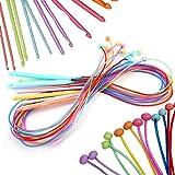 Coopay - Agujas de tejer circulares con cable, 120 cm, 12 agujas de ganchillo afganas de 3,0 mm a 12 mm para alfombras, bufanda, flores, manteles, chales y más