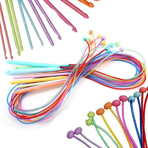 Coopay Tunesische Häkelnadeln mit Kabel, 120 cm, 12 Afghan-Häkelnadeln 3,0 mm - 12,0 mm für Teppich, Schal, Blumen, Tischdecken, Schal und mehr