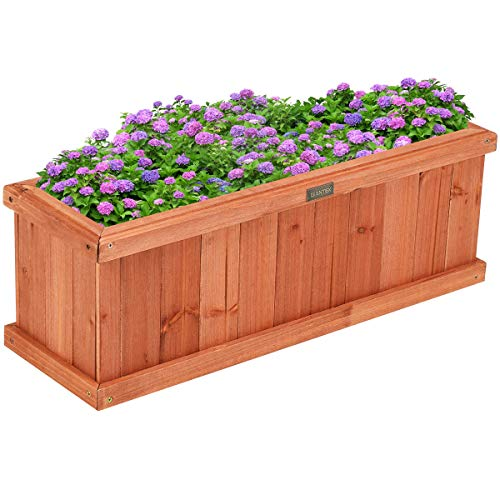 """Giantex Raised Garden Bed Flower or Vegetable Planter Window Mounted Plant Box for Garden, Yard Wood Box for Planting (28"""" LX9 WX10 H)"""