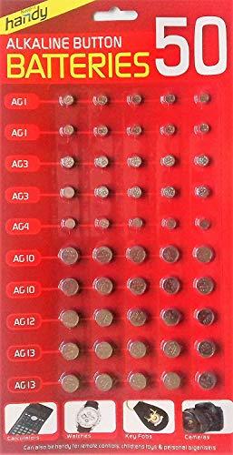 Slamtech® Verschillende Batterijen AG1/AG3/AG4/AG10/AG12/AG13 Voor Calulators, Horloges & Veel Meer(Pack van 50)