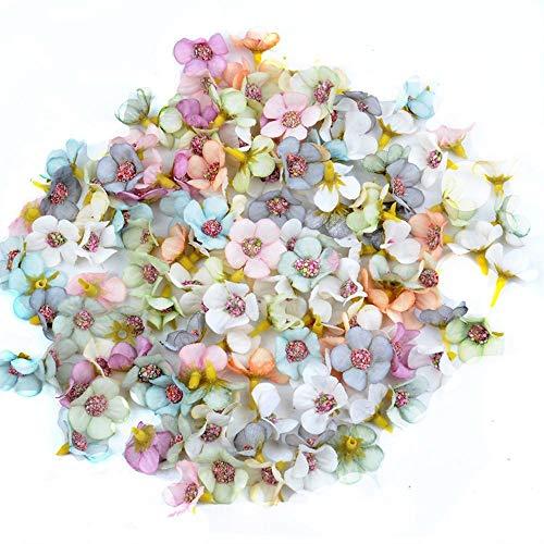 Turbobm 100Pcs 2cm Multicolor Daisy Flower Heads Mini Flores Artificiales de Seda para Guirnalda Scrapbooking Decoración de la Boda en el hogar