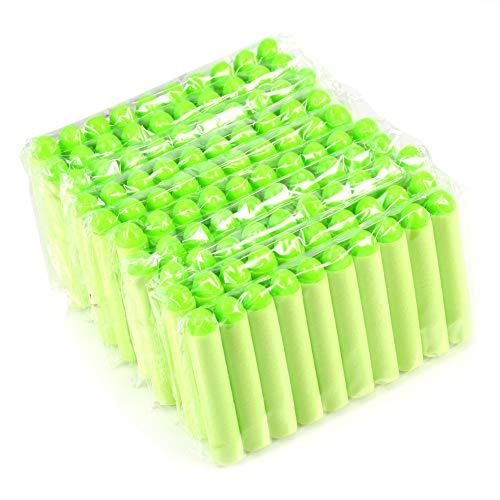 100 unidades de 7,2 cm de recambio de balas de dardos de espuma, para los jugadores de Nerf Zombie N-Strike serie Elite Pistola, verde