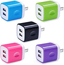 Sponsored Ad - 5 Pack USB Charger Wall Plug HUHUTA Dual Port 2.1A USB Phone Charger Adapter Block Box Replacement Fast Cha...