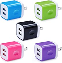 5 Pack Wall Charger, HUHUTA Dual Port 2.1A USB Phone Charger Adapter Block Box Replacement for iPhone Xs(max)/Xr/X/8, iPad, Samsung Galaxy S9/S8/Note 9, LG, Pixel, Moto, Google, HTC, and More