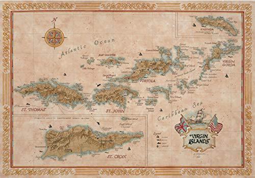 One Treasure Limited Antique Vintage Old World Caribbean US British Virgin Islands Map