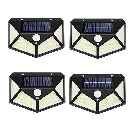 yqs Solar jardín luces LED Solar pared luz al aire libre cuerpo humano inducción impermeable sensor de movimiento luz cuatro lados luminoso para jardín 4 unids