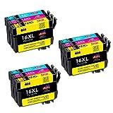 JIMIGO 16XL Alta Capacidad Cartuchos de Tinta para Epson 16,Compatible con Epson WorkForce WF-2510 WF-2520 WF-2530 WF-2540 WF-2630 WF-2650 WF-2660 WF-2750 WF-2760 WF-2010 (3Cian,3Magenta,3Amarillo)