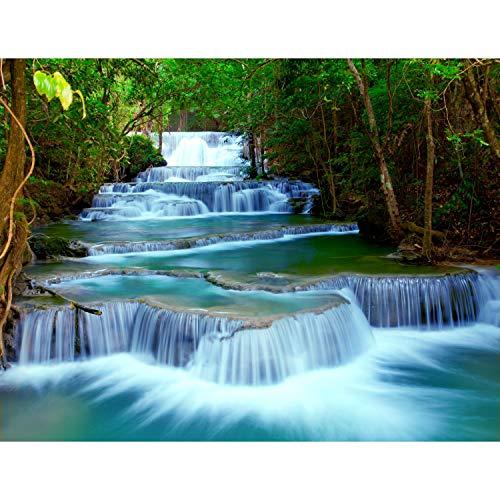 Fototapete Wasserfall Vlies 352 x 250 cm Vlies Tapeten Wandtapete XXL Moderne Wanddeko Wohnzimmer Schlafzimmer Büro Flur Grün Blau 9036011b