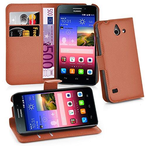 Cadorabo Hülle für Huawei Ascend Y550 in Schoko BRAUN - Handyhülle mit Magnetverschluss, Standfunktion & Kartenfach - Hülle Cover Schutzhülle Etui Tasche Book Klapp Style
