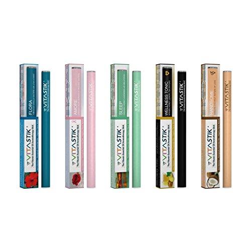 Vitastik 5erPack–Der Vitamin-Aromatherapie-Stick, nur Vitamine, ätherische Öle, Bio-Geschmack-Wasser