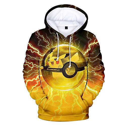 FAKDR Unisex Camisa Pokémon Pikachu con Impresión 3D Fit, Niño, Niña, Adolescente, Adulto, Sudadera con Capucha De Manga Larga para Niños Poliéster Suave,Amarillo,130