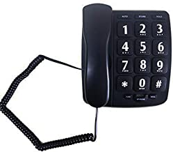 $23 » JeKaVis J-P02 Large Button Phone Corded Phone for Elderly with Amplified Speakerphone/Speed Dial/Wall Mountable (Renewed)