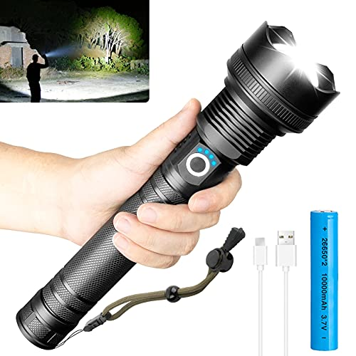 LED Rechargeable Flashlight High Lumens, 90000 Lumens Super Bright Flashlights, Powerful Tactical Flashlight with Batteries Included, Zoomable, 3 Modes, Waterproof Flashlight for Emergencies, Hunting