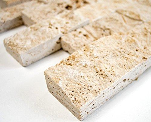 Mosaik-Netzwerk Brick Splitface CHIARO Travertine 3D Travertin Naturstein Küche, Mosaikstein Format: 48x100x20 mm, Bogengröße: 60 x 100 mm, 1 Handmuster ca. 6x10 cm