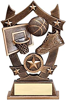 (1-3-5 Pack) of 6.25 Inch Sport Star Basketball Trophy Award with Engraved Personalized Plate