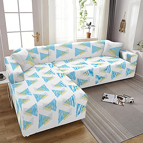 Funda de Sofá 1/2/3/4 Plazas Fundas para Sofa Elástica Cubre Sofá Universal Triángulo, Azul Blanco Funda de Sofá Antisuciedad Funda Sofá Printed Protector de Sofá O Sillón 2 Plazas: 145-185 Cm