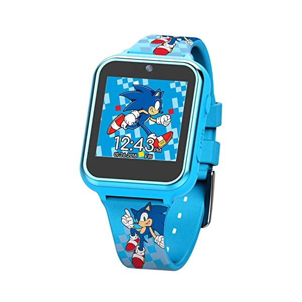 Sonic the Hedgehog Touch-Screen Smartwatch, Built in Selfie-Camera, Non-Toxic, Easy-to-Buckle Strap, Blue Smartwatch – Model: SNC4055AZ