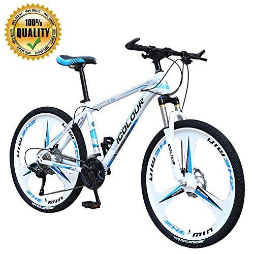 M-TOP Bicicletas Híbridas Vicicletas Montaña Adultos con Doble de Disco y Frenos Suspensión Bicicletas de Montaña de Acero Carbono para Hombres y Mujeres,Blanco,27 Speed