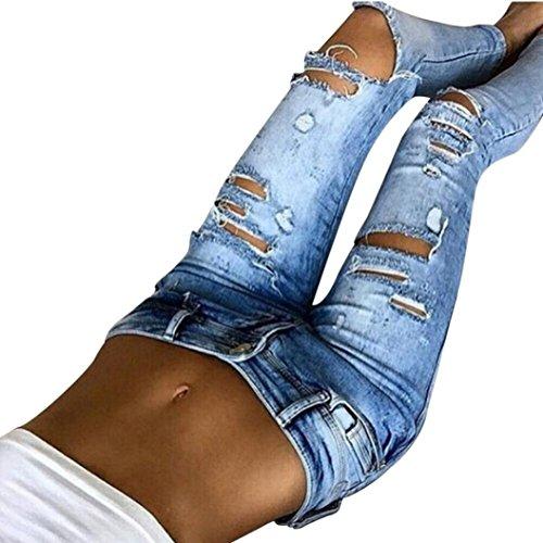 Zarupeng Damen Beiläufige Jeanshose Löcher Dünne Mittlere Taillen Jeans Zerrissen Bleistift Hosen (M, Blau)