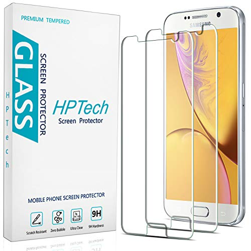 2-Pack HPTech Tempered Glass For Samsung Galaxy S6 Screen Protector, Easy to Install, Bubble Free, 9H Hardness