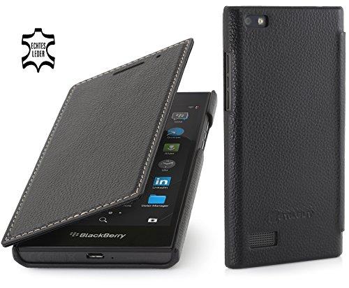 StilGut Book Type Hülle, dünne Hülle Leder-Tasche für BlackBerry Leap. Seitlich klappbares Flip-Hülle aus Echtleder für BlackBerry Leap, Schwarz