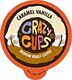 Crazy Cups Flavored Coffee for Keurig K-Cup Machines, Caramel Vanilla, Hot or Iced Drinks, 22 Single Serve, Recyclable Pods